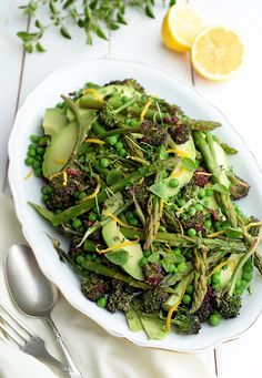 GREEN SPRING SALAD -   with asparagus, avocado, broccolini, zucchini and green peas.
