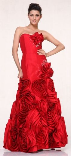 Queen of Hearts Red Rose Dress Full Length Strapless Taffeta Gown