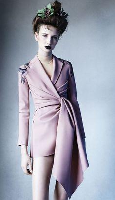 Pastel pink; birds & black lips #fashion