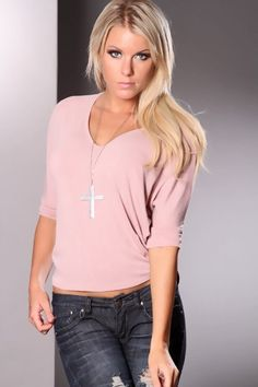 Dusty Pink Quarter Length Sleeve Adorable Top @ Amiclubwear Top Shirt Clothing Online Store: Dress Shirt,Sexy Womens Shirt,T Shirts,Corset Dress,White T Shirt,Girl T Shirt,Short sleeve top,Sexy Shirts,Hawaiian Shirts,Cute Tops,hawaiian aloha shirt,Tight S