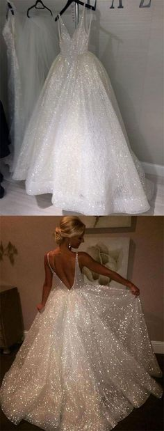 unique white sequins ball gown wedding dresses for bride,sexy v neck backless bridal gowns #wedding #bridal