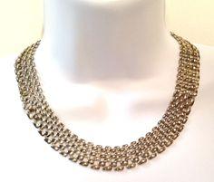 Vtg Modernist Mesh Chain Link Silver Tone Metal Collar Bib Statement Necklace #Unbranded #MetalMesh $15.00