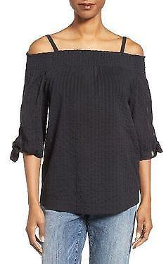 3289dc41da9dc9 Caslon womens S black 3 4 tie sleeve off the shoulder tunic blouse shirt  NWT  Caslon  Blouse