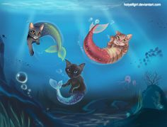mermaid cats | mermaid Cats by HolyElfGirl on DeviantArt