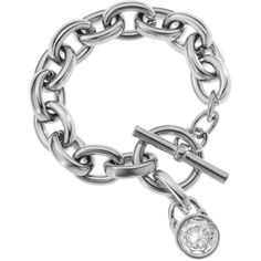 Michael Kors Silver Tone Toggle Link Bracelet ($115) ❤ liked on Polyvore