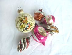 Vintage Christmas decorations glass tree by Glass Christmas Decorations, Tree Decorations, Christmas Bulbs, Holiday Decor, Two Birds, Christmas Pudding, Mercury Glass, Gold Glitter, Vintage Christmas