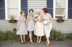 Gorgeous light grey mismatched bridesmaids.