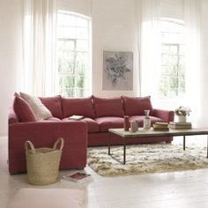 Pavilion corner sofa with weathered beech legs and square arms