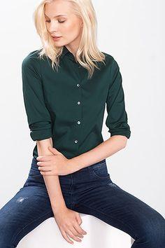 Esprit / Hemdbluse aus Baumwolle/Stretch