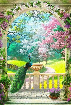 Fantasy Art Landscapes, Fantasy Landscape, Landscape Art, Landscape Paintings, Peacock Pictures, Art Pictures, Mural Painting, Mural Art, Wall Mural