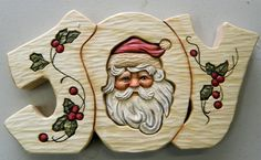 Bob Biermann got permission from the original artist (Jean Zawicki) to use her Santa design for carving. Bob Generously shares the pattern, materials and instructions for painting this. It would be great painted on a plaque, box, card etc Christmas Wood, Christmas Items, Christmas Signs, Winter Christmas, Christmas Decorations, Wood Carving Patterns, Carving Designs, Carving Wood, Arte Country