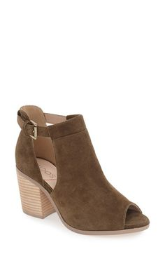 Free shipping and returns on Sole Society 'Ferris' Open Toe Bootie (Women) at Nordstrom.com. A fresh take on a versatile favorite, this stacked-heel bootie cut from lush suede is fashioned with a peep toe and slender side cutouts.