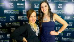 Director Tiffany Laufer wearing Daffodil necklace and The Daily Buzz reporter Meaghan Earley wearing Crystaiiline necklace and Dazzle earrings from Michelle Pajak-Reynolds Petals Collection at the 37th Cleveland International Film Festival (CIFF) Gala celebration.
