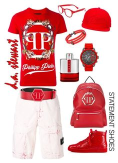 """ RED ALERT "" by dastewart on Polyvore featuring Philipp Plein, Christian Louboutin, STONE ISLAND, StingHD, Prada, See Concept, men's fashion and menswear"