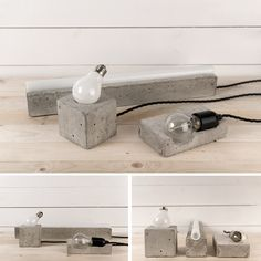 wood and concrete…two of my many favourite things.  concrete lamps