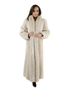 Classic Fur Trench Cross Mink Coat   long fur   full length - pre