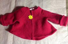 3-6 Felt Baby Cardigan red infant merino wool sweater upcycled ...