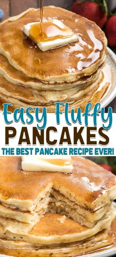 This is the best fluffy pancake recipe ever! Make homemade pancakes in no time w. This is the best fluffy pancake recipe ever! Make homemade pancakes in no time when you use this easy buttermilk pancake recipe. Best Pancake Recipe Ever, Perfect Pancake Recipe, Pancake Recipes, Easy Pancake Recipe No Sugar, Pancake Recipe With Vanilla Extract, Best Recipe Ever, Waffle Recipes, Extra Fluffy Pancakes Recipe, Buttermilk Pancakes Easy