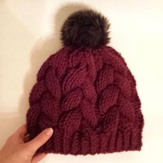 Burgundy braided cables & a faux fur pom pom. Can't go wrong there! 😍😍😍 The braided cable beanie in my last post is now up in the shop too! You can expect this one to join it soon! Faux Fur Pom Pom, Cable, Braids, Winter Hats, Burgundy, Join, Beanie, Knitting, Pretty