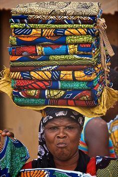 Africa | Fabric seller at the market in Ganvie.  Benin | ©Paul de Roos