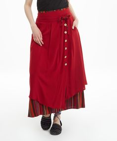 Love this Red Button-Accent Layered Maxi Skirt by Los Banditos on #zulily! #zulilyfinds