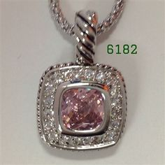 """Pink Silver Bezel with Clear CZ Pave Lobster Claw Necklace 16+2"""""""