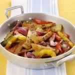 Padellata di patate e peperoni all'origano