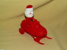 SANTA CLAUS SNOW MOBILE FRICTION PULL BACK ACTION RED WHTE PLASTIC CHRISTMAS TOY