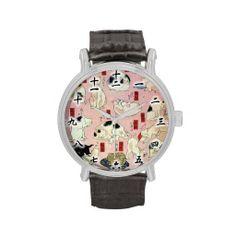 其のまま地口猫飼好五十三疋(中), 国芳 Cats(2), Kuniyoshi, Ukiyo-e Wrist Watch