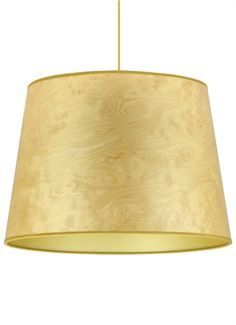 Light burl wood veneer cone shade with gold lining and trim