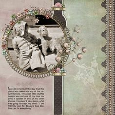 Soft and sweet childhood page with an intricate lace border and flowered wire framing.
