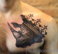 Rhino tattoo on louie today. #rhinotattoo #animaltattoo #tattrx #tattooart #btattooing #blackworkerssubmission #blxckink #blxckinkuk #onlyblacktattoos #onlyblacktattoos #blackink #cheltenham