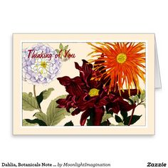 Dahlia, Botanicals Note Card - Customize Greeting