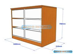 Plano y Medidas de cómo hacer una comoda de melamina con gavetas - Web del Bricolaje-Diy-diseño de muebles con brico-diy.net