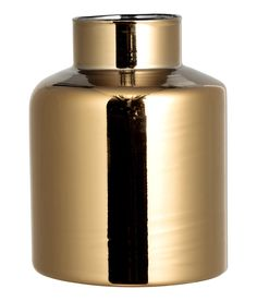 Check this out! Glass vase with gold-colored finish. Height from 4 in. to 8 1/4 in. Diameter at top from 1 1/4 in. to 2 1/4 in. - Visit hm.com to see more.