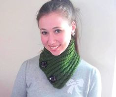 Green Neckwarmer  Scarf with Buttons  The by EterKnityCreations