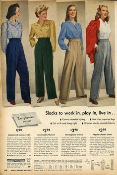 Four different colours of 1940s ladies trousers. #vintage #1940s #pants #fashion