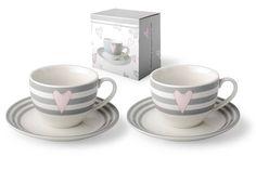 Sada dvou šálků s proužky a srdíčky Tea Cups, Tableware, Dinnerware, Tablewares, Dishes, Place Settings, Cup Of Tea