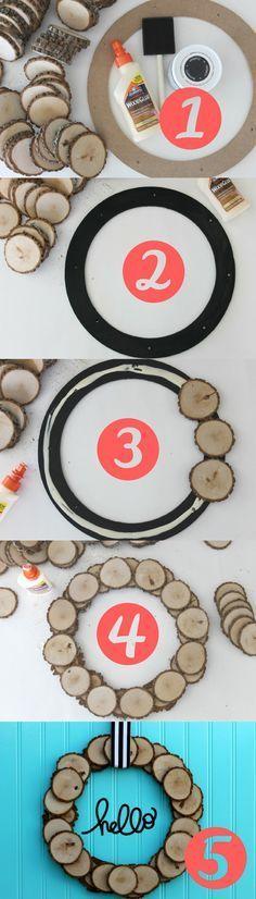 Make a wood slice wreath in five simple steps.