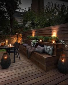 Creating a truly modern garden lighting design can add so much to your home. All types of properties can benefit from a garden lighting make. Backyard Seating, Outdoor Seating Areas, Garden Seating, Backyard Patio, Rooftop Patio, Veranda Design, Terrace Design, Patio Design, Back Yard Design