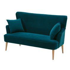 Petrol blue 2-seater velvet sofa | Maisons du Monde