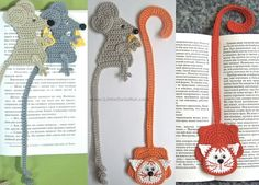024 Cat and Mouse Bookmarks - Amigurumi Crochet Pattern - PDF file by Zabelina Etsy Crochet Bookmark Pattern, Crochet Bookmarks, Crochet Books, Love Crochet, Knit Crochet, Crochet Hats, Pattern Baby, Baby Patterns, Bookmarks
