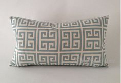 10x20 Twill Towers Greek Key Decorative Bolster Pillow Cover - Tan and Sage Blue - Medium Weight Cotton- Invisible Zipper Closure. $20.00, via Etsy.