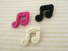 Crocheted Cotton Music Note Brooch