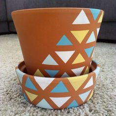 leeshkovie - Flower Teracotta Pot Acrylic Painted Geometry Triangles