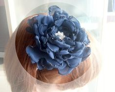 Headband Navy blue chiffon flower bridesmaid by MKedraWedding