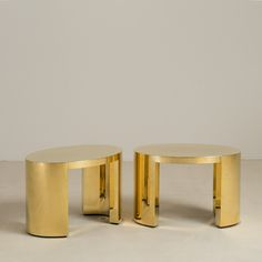 Pair of Polished Brass Wrapped, Oval Side Tables by Talisman Bespoke | From a unique collection of antique and modern side tables at https://www.1stdibs.com/furniture/tables/side-tables/