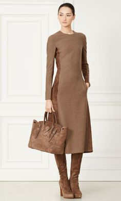 Adley Suede-Wool Dress - Collection Apparel Evening Dresses - RalphLauren.com