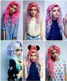 Brightly colored hair