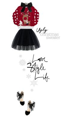 """Rudolph."" by francesca-belotti ❤ liked on Polyvore featuring Chicwish, Yves Saint Laurent, Jimmy Choo, Christmas, jimmychoo, saintlaurent, tulle and uglychristmassweater"